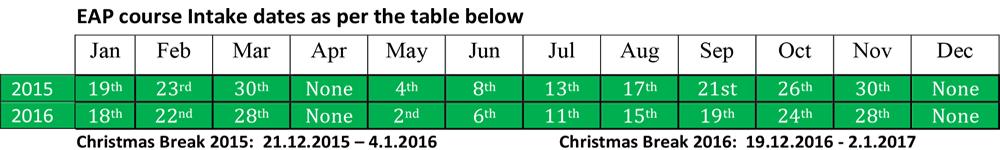 EAP Intake Dates 2015, 2016
